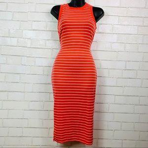 No Comment t-shirt dress maxi orange striped small